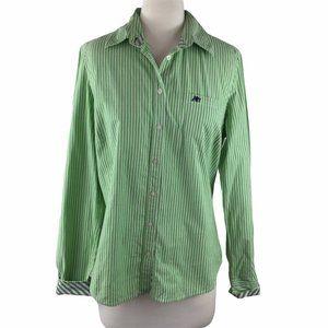 Aeropostale Green/White Cotton Shirt, Size L